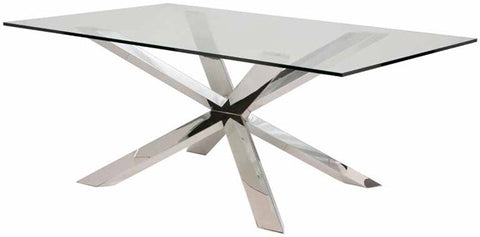 "95"" Modern Clear Glass Conference Table with Silver or Gold Stainless Steel Base"