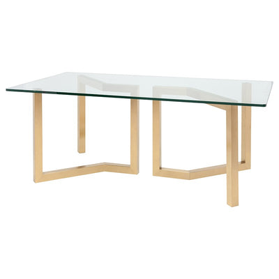 "79"" Glass Executive Desk or Meeting Table w/ Brushed Gold Base"