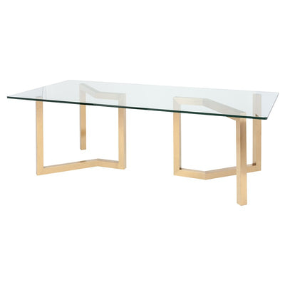 "95"" Glass Conference Table w/ Brushed Gold Base"