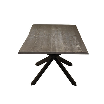 Oxidized Grey Oak & Matte Black Steel Conference Table w/ Live Edge