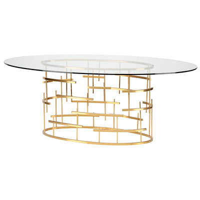 "77"" Oval Glass & Gold Cross Hatch Meeting Table"