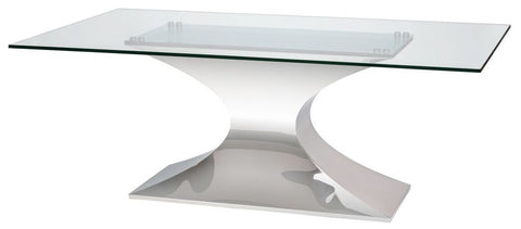 "78"" Glass Desk or Conference Table with Polished Stainless Base"