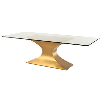 "94"" Eye-Catching Glass & Brushed Gold Steel Conference Table"