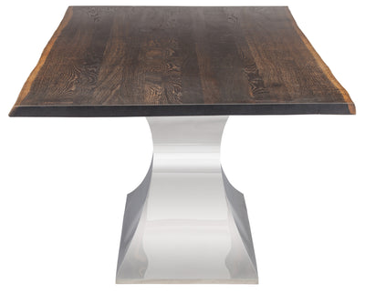 "96"" Solid Seared Oak Conference Table with Polished Stainless Base"