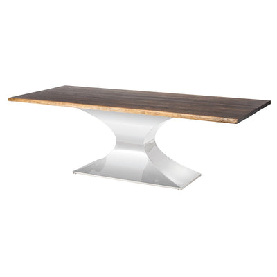 "112"" Eye-Catching Seared Oak & Stainless Steel Conference Table"