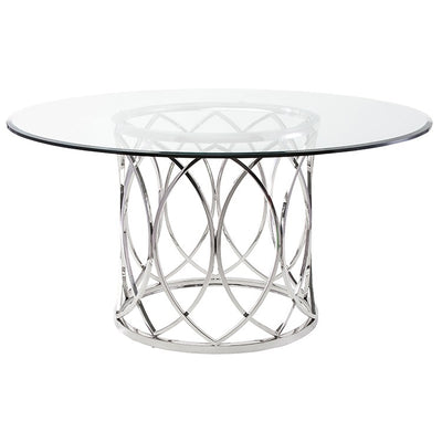 "59"" Round Glass & Stainless Steel Meeting Table w/ Interwoven Ring Design"