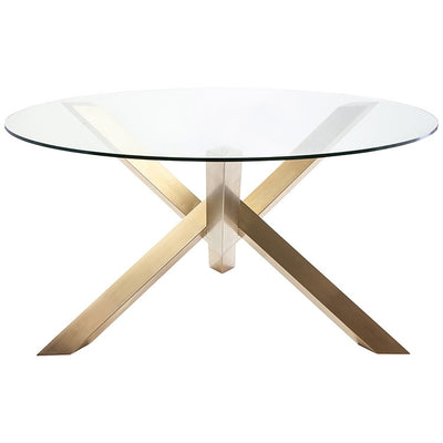 "72"" Round Glass & Gold-Brushed Steel Meeting Table"
