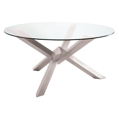 "72"" Round Glass & Brushed Steel Meeting Table"