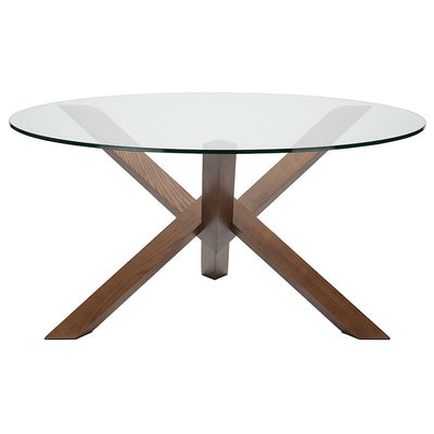 "59"" Round Glass & Walnut-Stained Ash Wood Meeting Table"