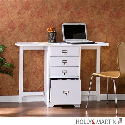 Modern Folding White Computer Desk with Drawers