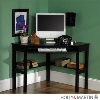 Compact Modern Black Corner Computer Desk With Keyboard Tray
