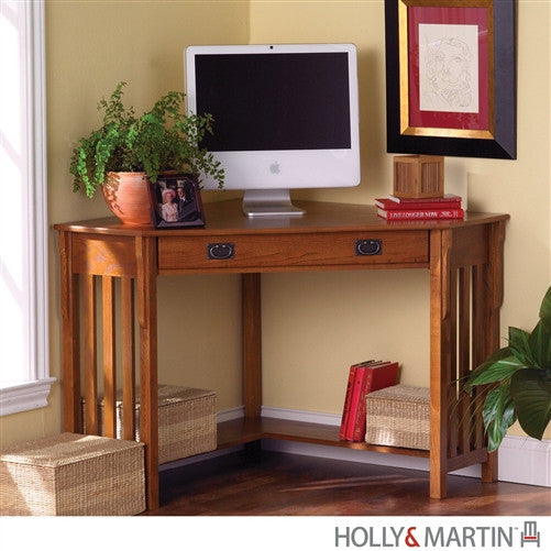 Compact Mission Corner Computer Desk in Oak with Keyboard Tray