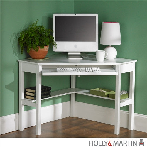 Compact Modern White Corner Computer Desk With Keyboard Tray