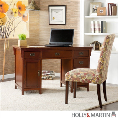 "Solid Wood & Veneer 48"" Mahogany Double Pedestal Writing Desk"