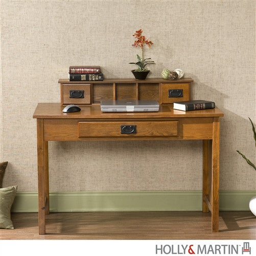 "45"" Modern Oak Desk with Mini-Hutch and Keyboard Drawer"