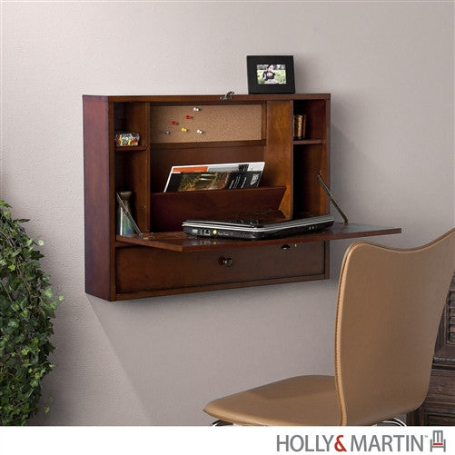 Modern Wall Mounted Laptop Desk in Mahogany