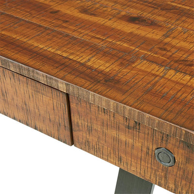"Acacia Veneer 54"" Office Desk with Central Storage Drawer"