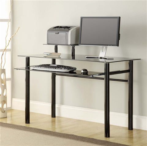 Modern Black Glass Ergonomic Office Desk