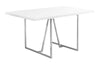 "60"" Modern White & Chrome Office Desk with Geometric Base"