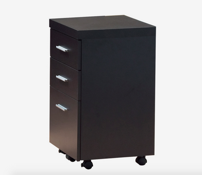 "Modern 60"" Desk with Floating Top & File Drawer in Cappuccino"