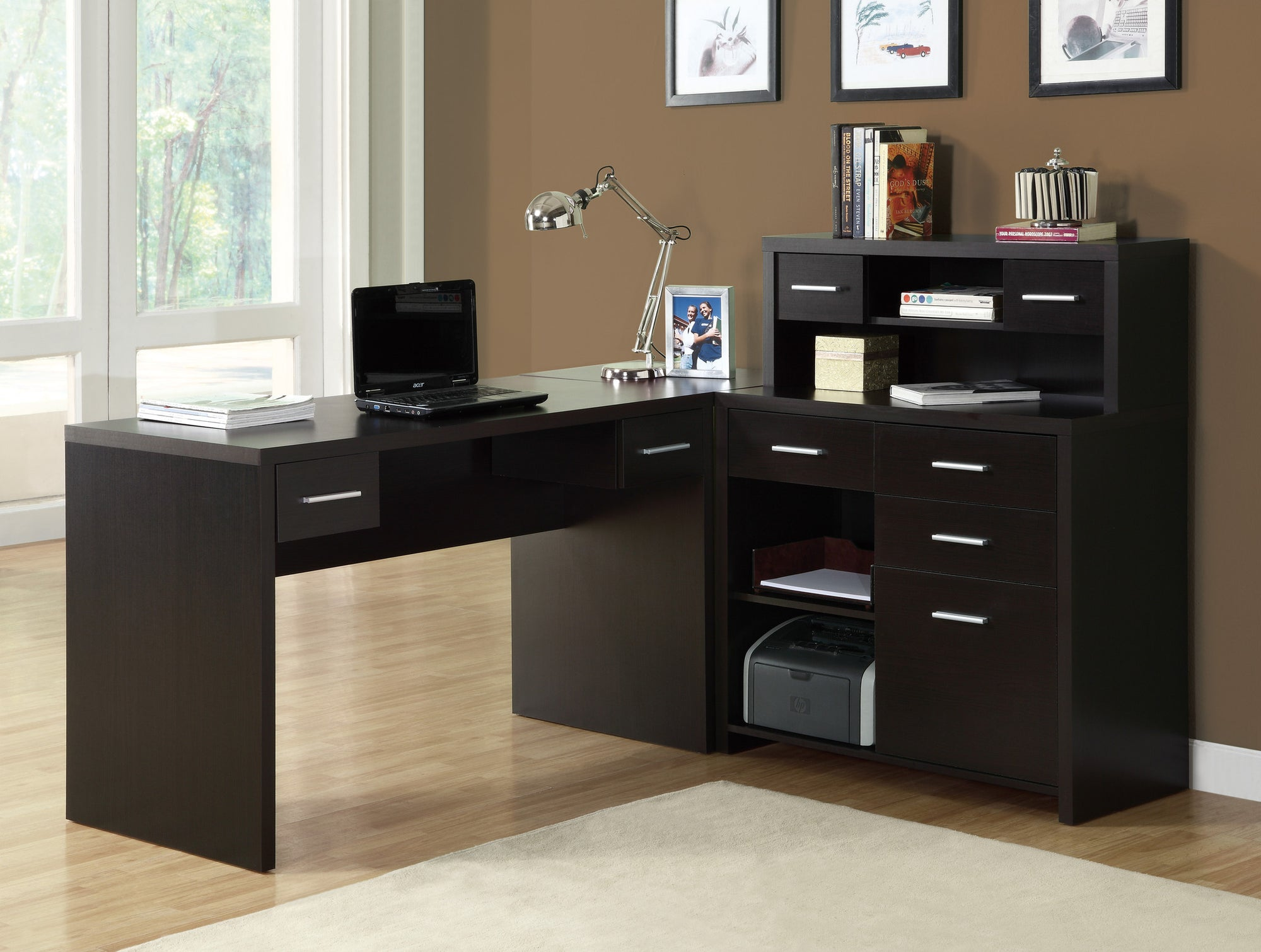 Sleek Cappuccino Finished L Shaped Corner Office Desk With Storage