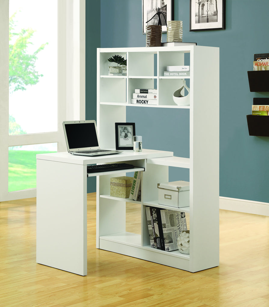 Modern Office Desk Amp Bookcase Combination In White Finish