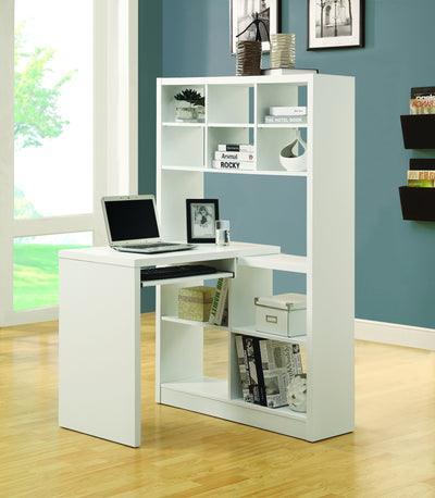 Modern Office Desk & Bookcase Combination in White Finish