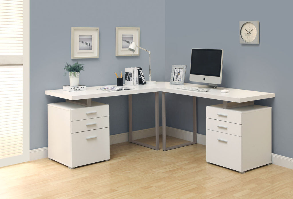 L Shaped Double Pedestal White Office Desk With Floating