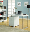 "Compact 48"" Modern Single Pedestal Desk in White Finish"