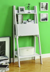 "Contemporary Super Compact White ""Ladder"" Desk with Shelving"