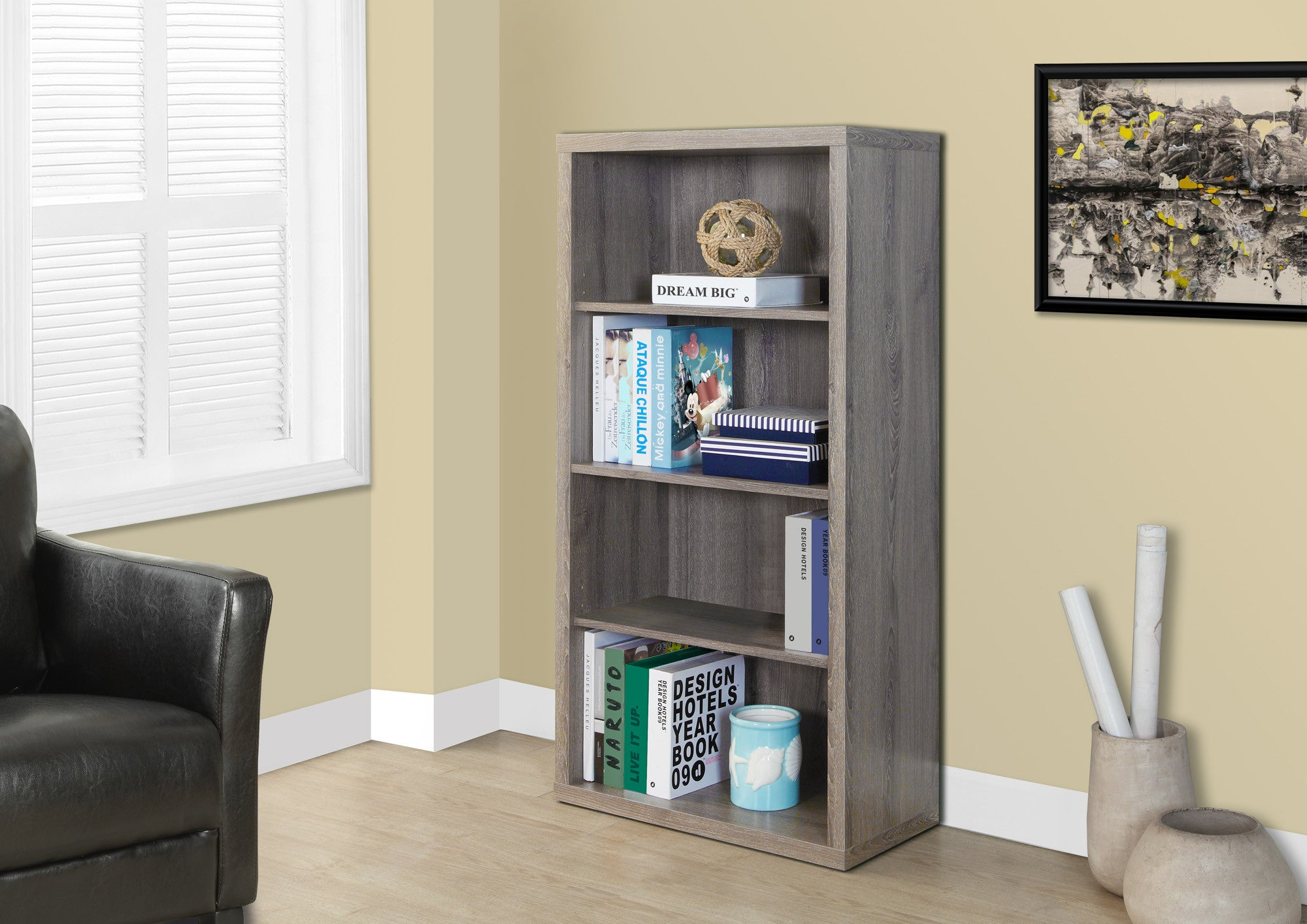 Modern Dark Taupe L Shaped Desk With Drawers Shelving
