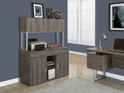 "Dark Taupe 48"" Storage Credenza with Hutch"