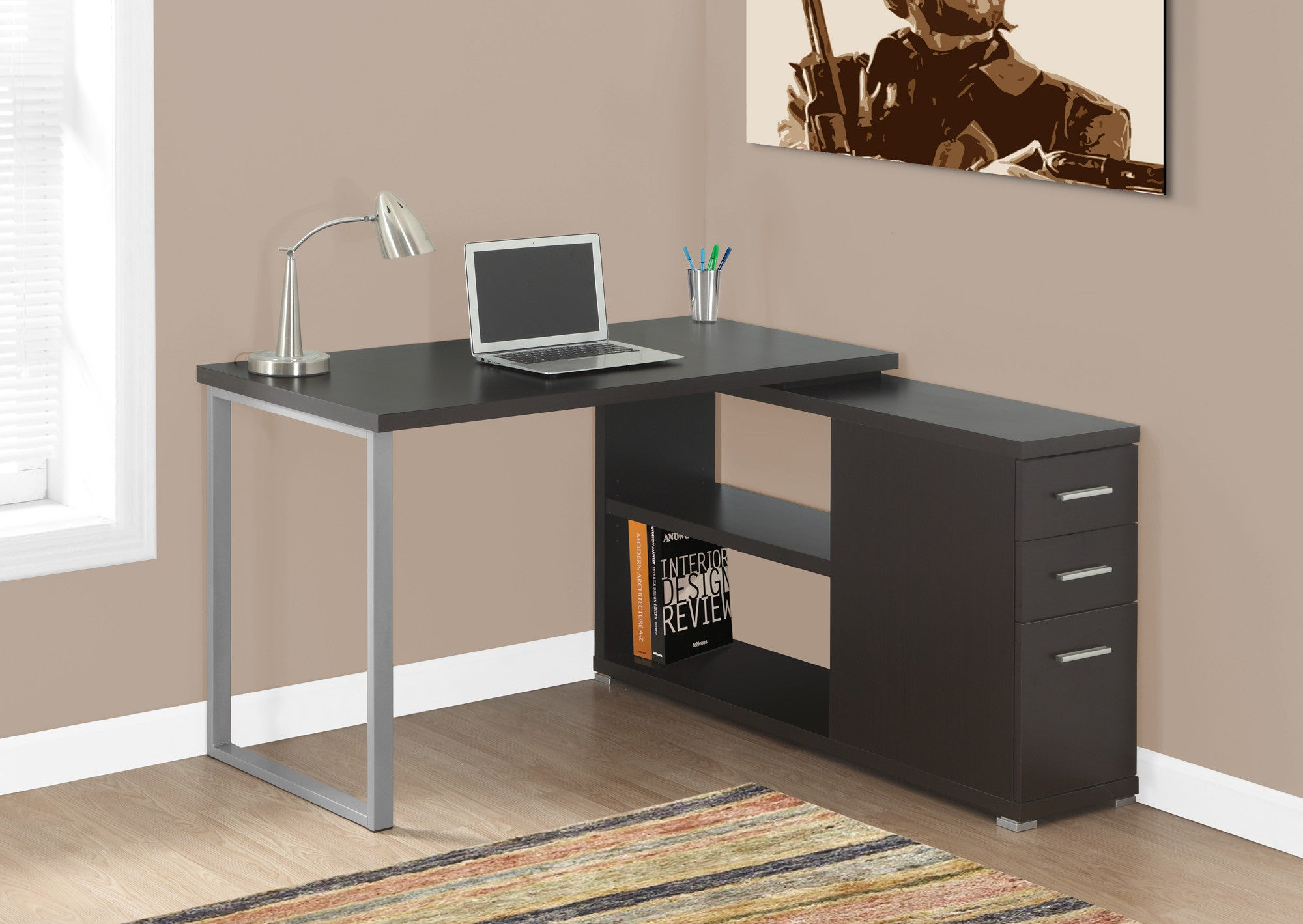 Modern Cappuccino L Shaped Desk With Drawers U0026 Shelving