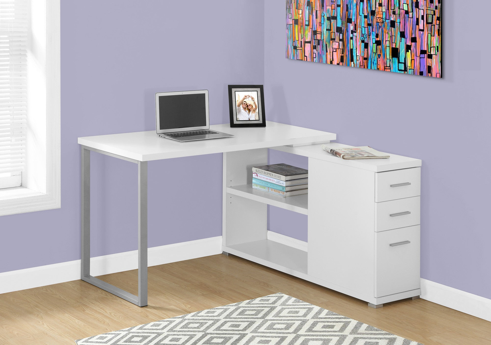 Modern White L Shaped Desk With Drawers U0026 Shelving
