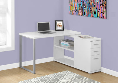 Modern White L-Shaped Desk with Drawers & Shelving