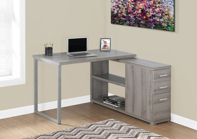 Modern Dark Taupe L-Shaped Desk with Drawers & Shelving