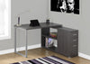 Modern Dark Gray L-Shaped Desk with Drawers & Shelving
