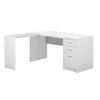 "Modern 60"" L-Shaped White Office Desk"