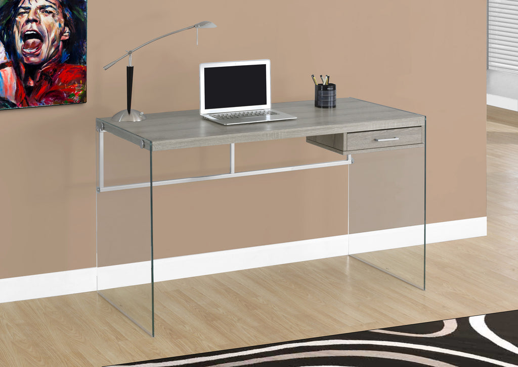 "48"" Dark Taupe Office Desk with Glass Legs"