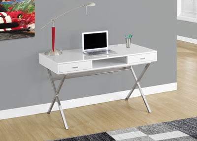 "Modern White & Chrome 48"" Office Desk"