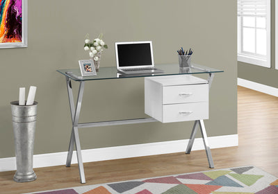 "48"" Glass Top Office Desk w/ White Drawers"