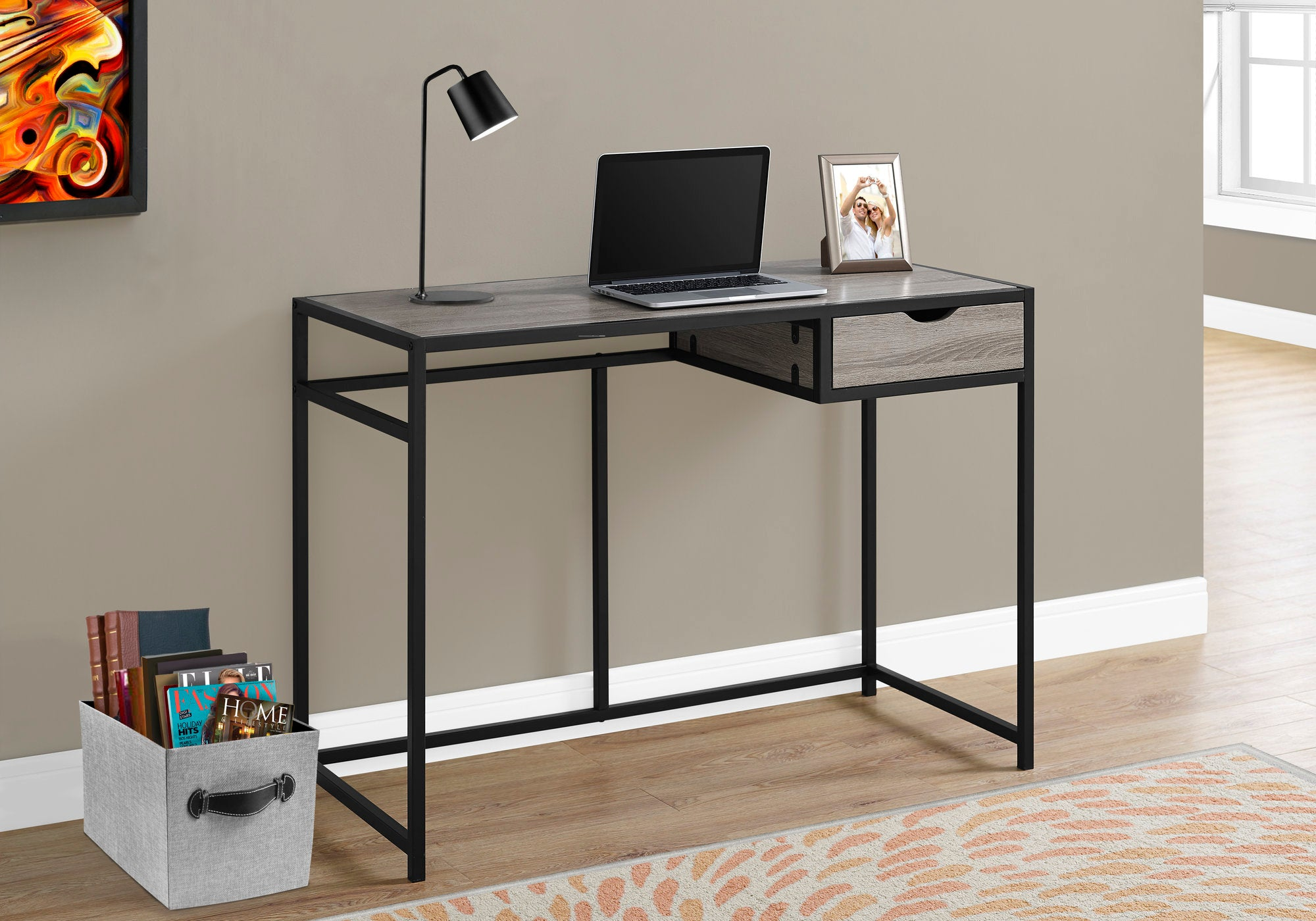 42 Dark Taupe Desk With Metal Frame By Monarch Officedesk Com