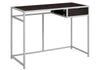 "42"" Cappuccino & Silver Minimalist Office Desk w/ 1 Drawer"