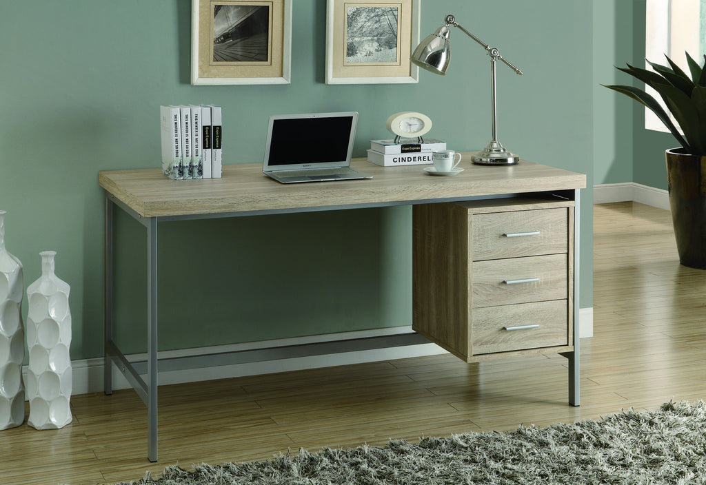 "Natural Reclaimed Three Drawer Contemporary 60"" Office Desk"