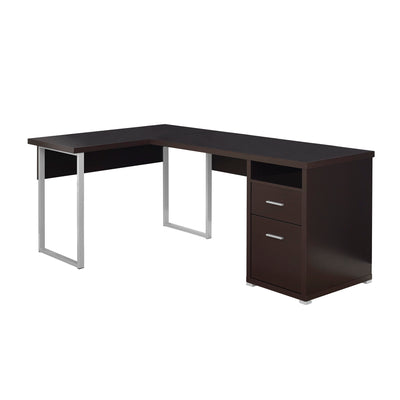 "Versatile Cappuccino 79"" Corner Office Desk w/ Drawers"
