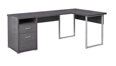 "Versatile Grey 79"" Corner Office Desk w/ Drawers"
