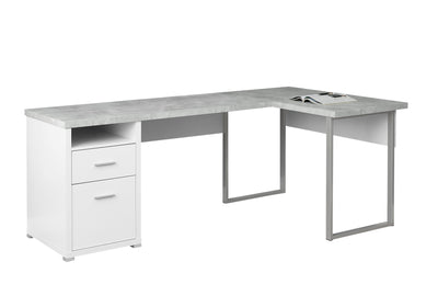 "Versatile White & Cement 79"" Corner Office Desk w/ Drawers"