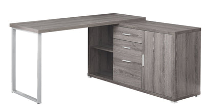 Classic Taupe Corner Office Desk w/ Silver Accents