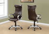 Imposing Brown Leatherette Office Chair w/ Silver Armrests