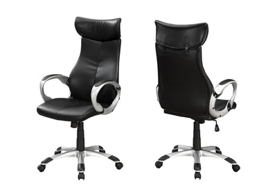 Imposing Black Leatherette Office Chair w/ Silver Armrests